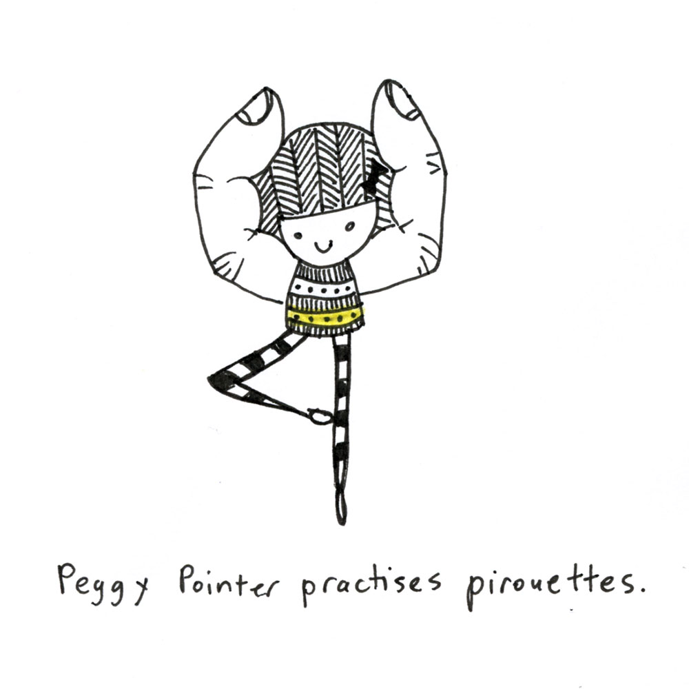 peggy pointer practises pirouettes.