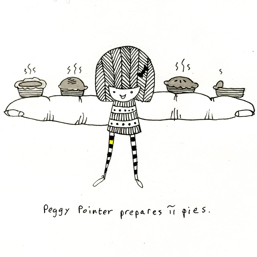 peggy pointer prepares π pies.