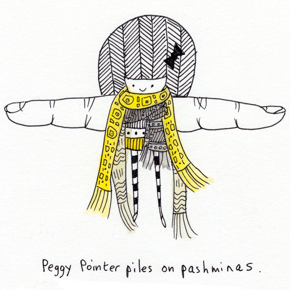 peggy pointer piles on pashminas.