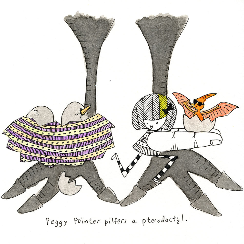 peggy pointer pilfers a pterodactyl.