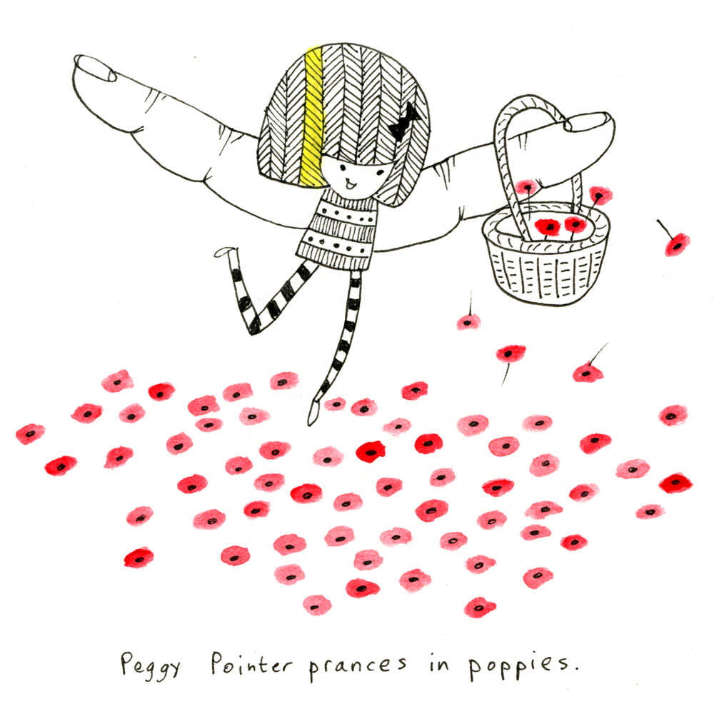 peggy pointer prances in poppies.