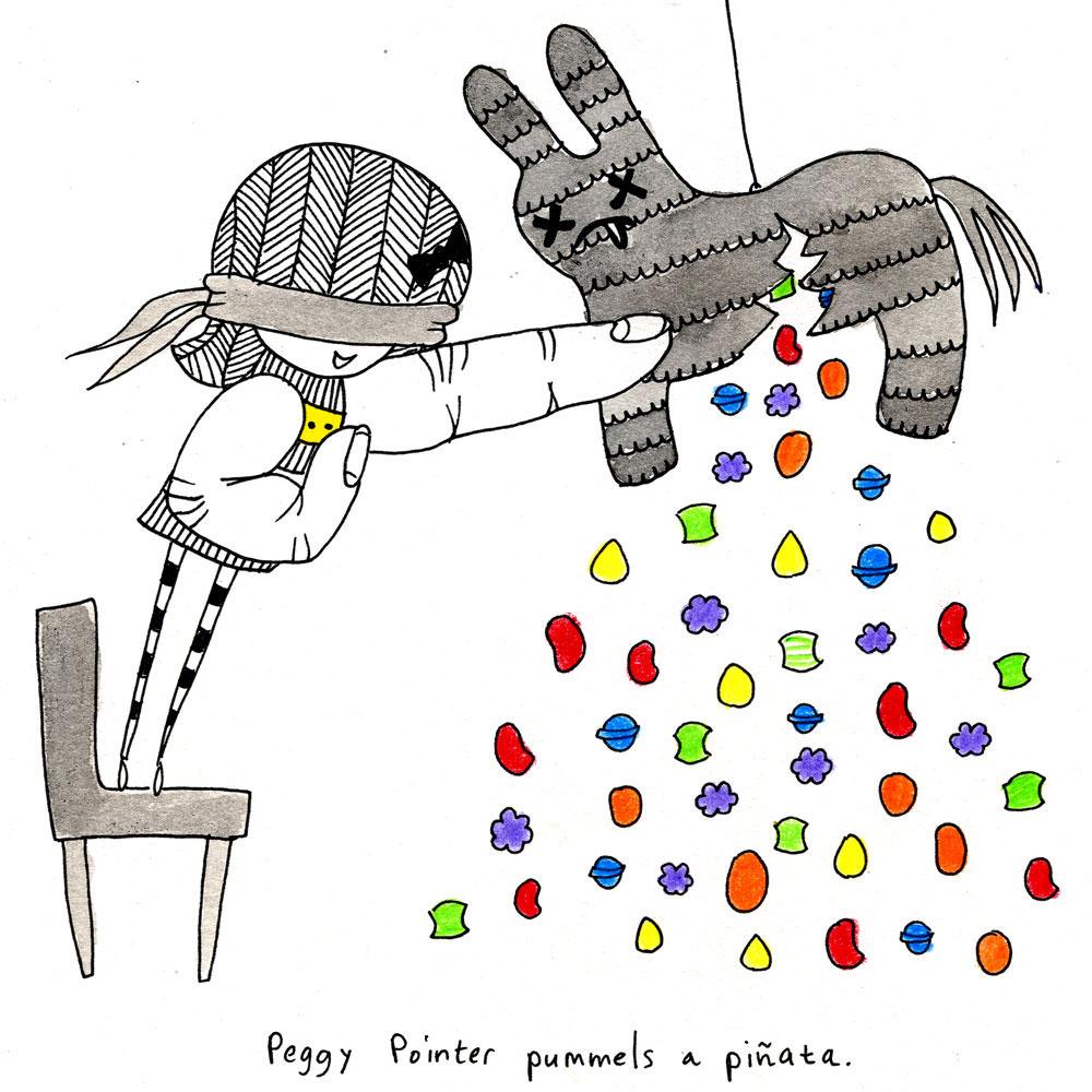 peggy pointer pummels a piñata.