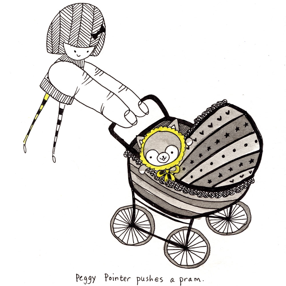 peggy pointer pushes a pram.