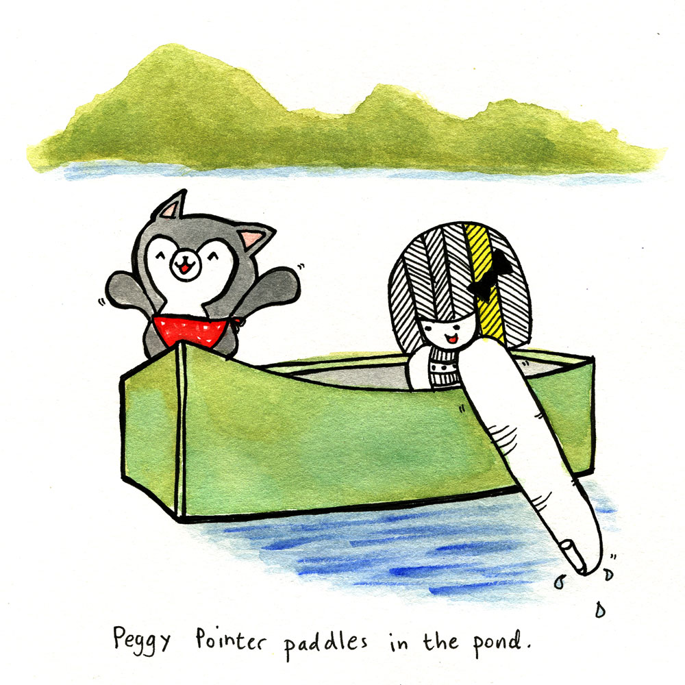 peggy pointer paddles in the pond.