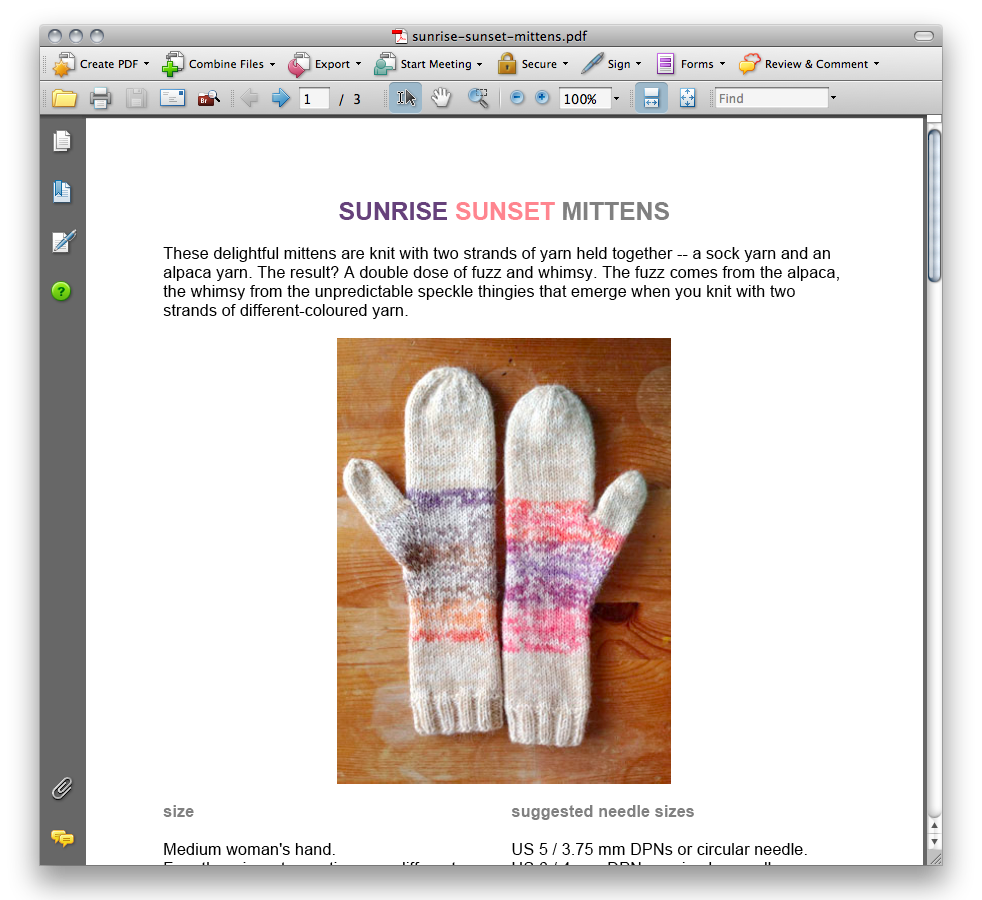 sunrise sunset mittens pattern screenshot