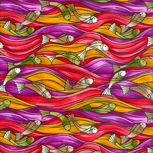 fish swimming in pink, orange, and purple waves