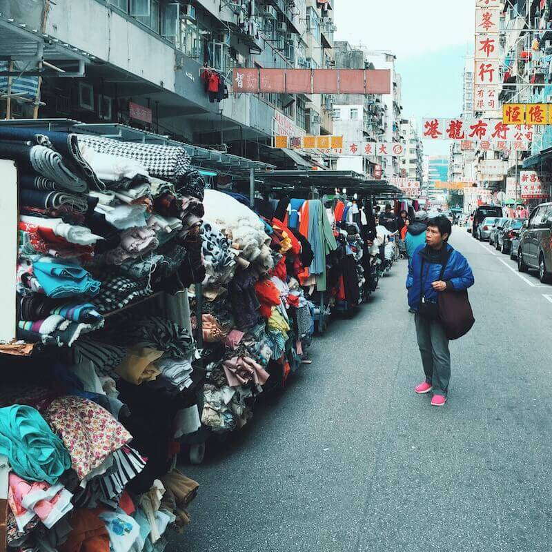 Ki Lung Street fabric stalls in Sham Shui Po