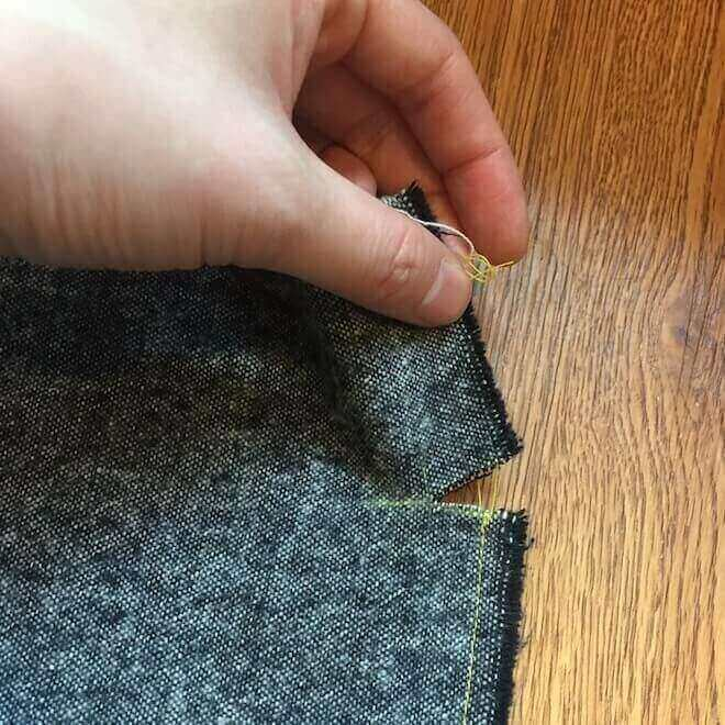 sew first seam from the snip