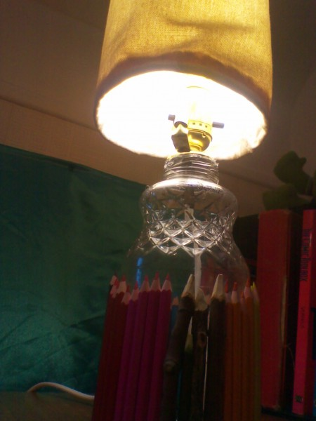 dollarama pencils, canvas lampshade, lamp, diy lamp, wiring kit