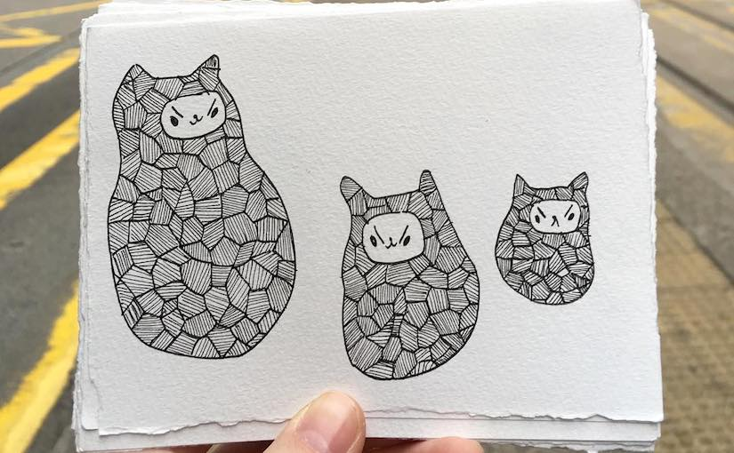 moody cat postcards
